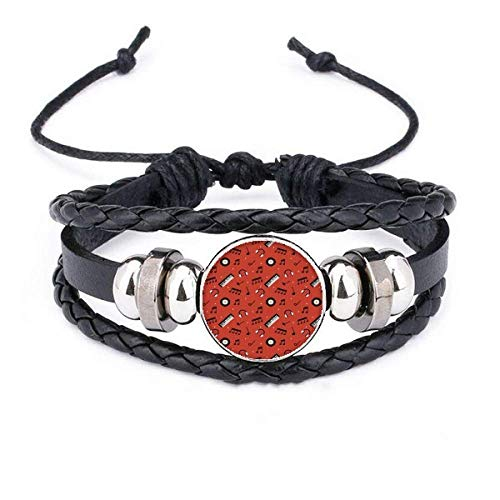 DIYthinkerBlack Record and Music Notes Red Bracelet Braided Leather Woven Rope Wristband