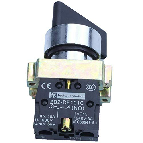 ELECTROPRIME 10X(AC 240V 3A NO SPST Black Cap 2 Position Selector Latching Rotary Switch C1O2