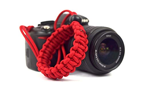 Spillbox Paracord Wrist Strap for Robust Hand Grip to Hold All DSLR Camera/Heavy Gear/Binocular (Red)