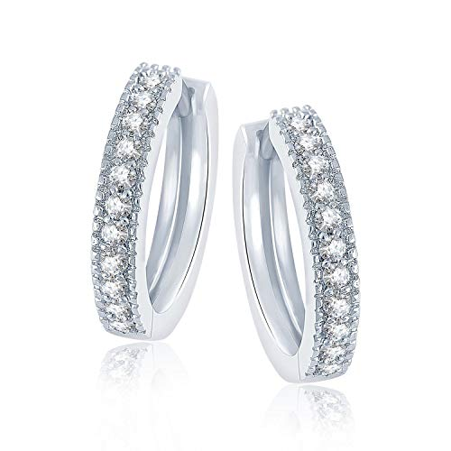 Eloish Sterling Silver CZ Studded Huggie Earrings for Women and Girls.