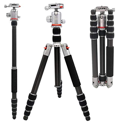 koolehaoda Q-666C Portable Carbon Tripod Monopod Kit and Ball Head Compact Travel