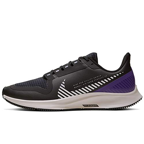 Nike Women's W AIR Zoom Pegasus 36 Shield Black/Silver/Desert Sand/Voltage Purple Running Shoes-7 UK (7.5 US) (AQ8006)