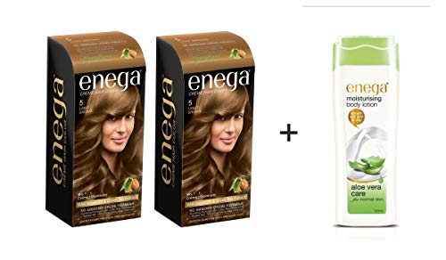 GREEN Enega Light Brown Cream hair Color 120 ML Pack Of 2 (Get A Free Alovera Body Lotion 100 ML)