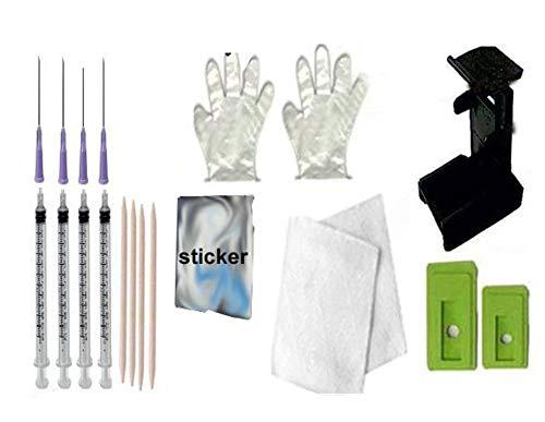 GoColor Suction Tool & Ink Refill Kit for HP Cartridge Black & Tri Cartridge + 4 Syringe & Needles + 2 Gloves + 2 Napkin + Sticker