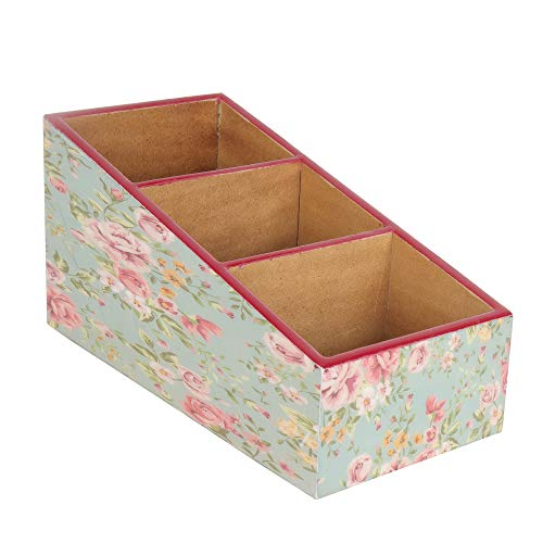 BeFunky MDF Wooden Wood Pen Pencil/Remote Control Holder Container Stationery Case Office Desktop Organizer (Pink Rose)