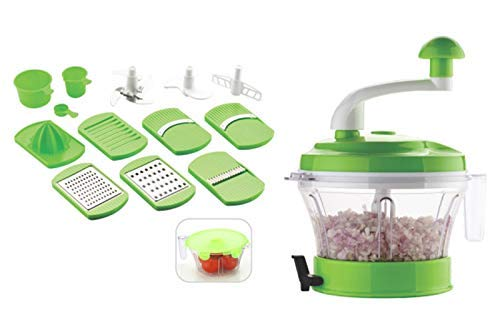 SARANGWARE Multi Purpose 7 in 1 Vegetable Slicer, Grater, Juicer with Unbreakable Transparent Container, Green