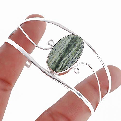 Nimbark Green Jasper Gemstone Silver Plated Spiritual Adjustable Bracelet