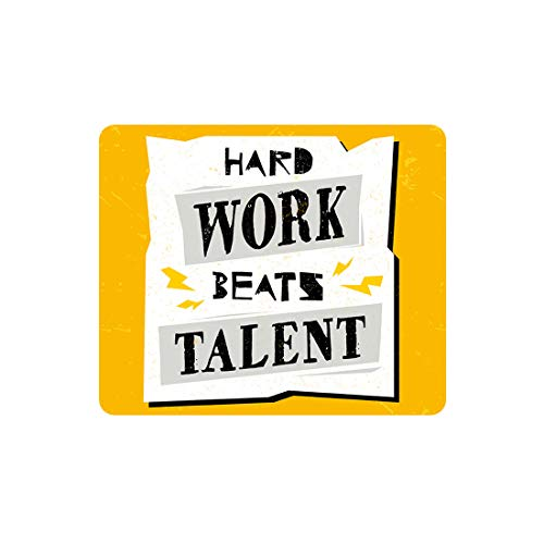 Madanyu Designer Mousepad Non-Slip Rubber Base for Gamers - HD Print - Hard Work Beats Talent Inspirational Quote