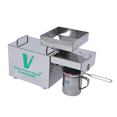 VIVAN GLOBAL IMPEX VGI- 401 Stainless Steel Press Oil Maker Machine/Extract Oil from Peanuts, Mustered,Sesame,Soybean,Sunflower, Almond,Coconut, etc.(M) **MADE IN INDIA**