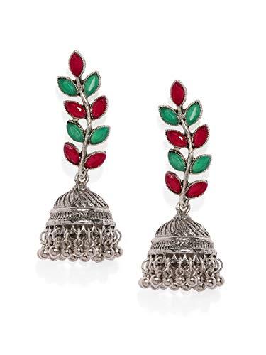 Zaveri Pearls Silver Tone Leaf Shaped Jhumki Earring For Women-ZPFK8749