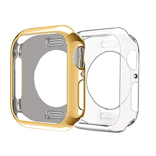 AE Mobile Accessories Apple Watch Series 1, 2 & 3 case, iwatch 1, 2 & 3 Case TPU All-Around 0.3mm Ultra-Thin Soft High Full Cover for New Apple Watch Series 1/2/3 (42mm) Gold