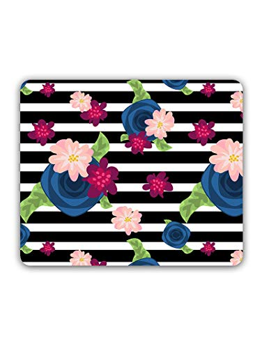 Madanyu Designer Mousepad Non-Slip Rubber Base for Gamers - HD Print - Flowers On Stripes