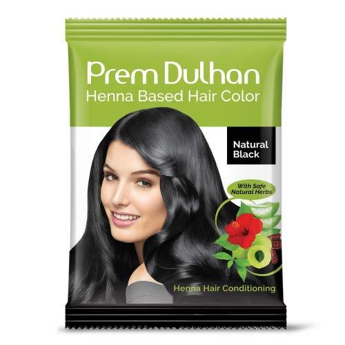 Prem Green Dulhan Natural Black Henna Based Hair Color 10 g (Pack of 10)