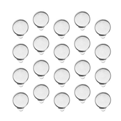 HEALLILY 20pcs Ear Clip Tray Earring Clip Cabochon Setting Earring Bezel Components Findings for Non-Pierced Ears Cabochon Jewelry Making