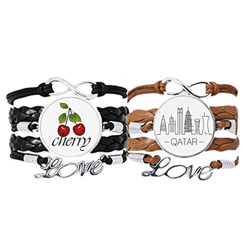 DIYthinkerDrawing City Qatar Landmark Bracelet Hand Strap Leather Rope Cherry Love Wristband Double Set