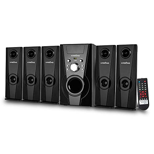 KRISONS Genius-400 Multimedia Speaker (5.25'' Woofer)   App Controlled, Bluetooth Supporting Home Theatre   USB, AUX, LCD Display, Built-in FM, Recording, Remote Control (Black, 5.1 Channel)