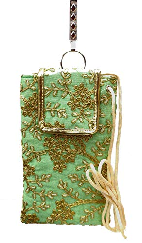 STYLO G Women's Mobile Cover for big mobile phones with Purse Pocket and Sari Hook-SEA-GREEN