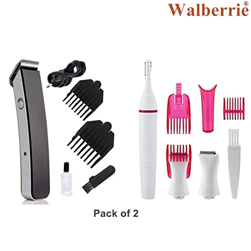 WALBERRIE Silver Blades Beard Trimmer for Men, Sensitive Touch Expert Electric Trimmer for Women