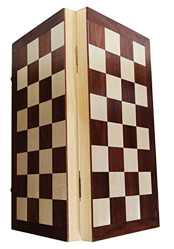 Rimeep Folding Chess Wooden Chess Set with 32 Pieces Board Game for Kids & Family (Wooden 12x12 inches)