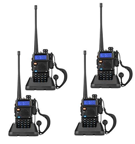 SekyuritiBijon 4-Wey Dual Band Two Way Radio (Pack of 4 Pcs) UHF/VHF 136-174/400-520 MHz FM Transceiver Ham Amateur Radio Walkie Talkies with Earphone Black