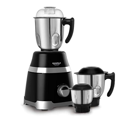 Maharaja Whiteline MX-220 1000 W Ultramax HD 3 Stainless Steel Jar Mixer Grinder (Black with Chrome Finish)