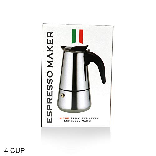 3D Creations 403 Stainless Steel Espresso Maker (Multicolour, 4 Cups)