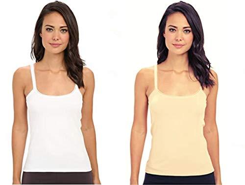 D'Heer Fashion Women's Camisole Slip Fine Cotton Rich Spaghetti Tank Top for Women/Girls (White & Skin, Medium-28-30 Inch)