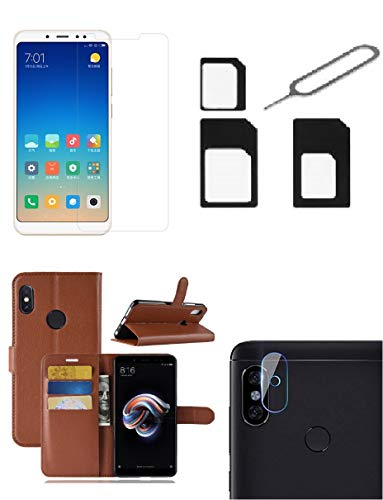 Generic Redmi Note 5 Pro Flip Cover Combo with Mobile Accessory Redmi Note 5 Pro Camera Lens, Sim Tray, Tempered Glass for Mobile Screen Protection Combo