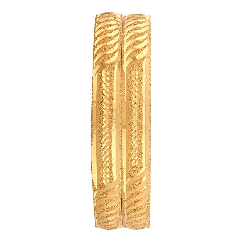Shine Art Gold brass; copper Gold Plated Traditional Bangles for Women (2.6)- Set of 2 Pcs