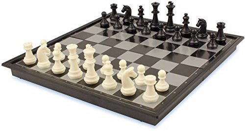 """Beingelegant - Chess Folding Magnetic Travel Set - 9"""" Board Game Educational Toys with Folding Board for Kids and Adults (Black)"""