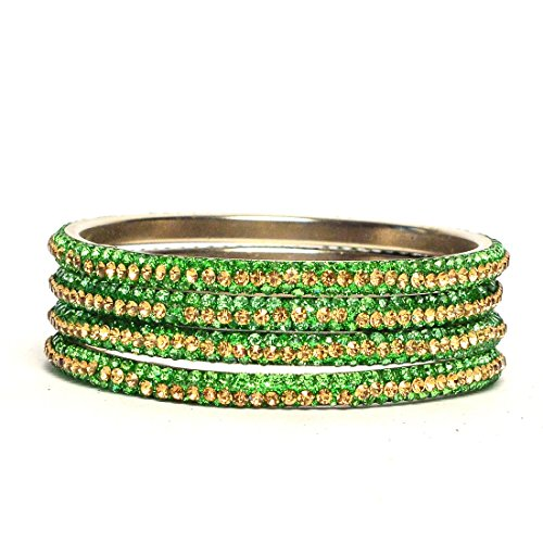 MALLEPULA Green Metal Traditional Stone Bangles for Women, Set of 4