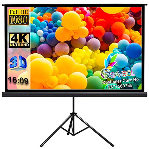 """SAVSOL Tripod Stand Projector Screen (80 Inch. (Width) x 45 Inch. (Height) - 92"""" Inch) Diagonal in 16:09 Ratio Aspect, Ultra HD, 4K Technology, Active 3D #20"""