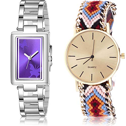 NEUTRON Chain Analog Purple and Gold Color Dial Women Watch - GM214-G316 (Pack of 2)
