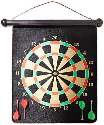 BLUE SPACE 2 in 1-Double Sided Dartboard Magnetic Dart Board for Kids - Safe Magnetic Darts - Outdoor and Indoor Dart Board Game for Boys and Adults Size 12 inches( 6 Years & up)