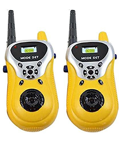 HILY - Yellow Walkie Talkie Set with Batteries 2 PCS Set Portable Electronic Radio with Clear Sound & Long Range Toy for Kids