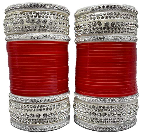 BACHATWALA Red Designer Whitle Silver Stone with Glass Cut Chura Set for Bridal Dulhan Engagement Punjabi Choora Fashion Jewellery Chuda Set