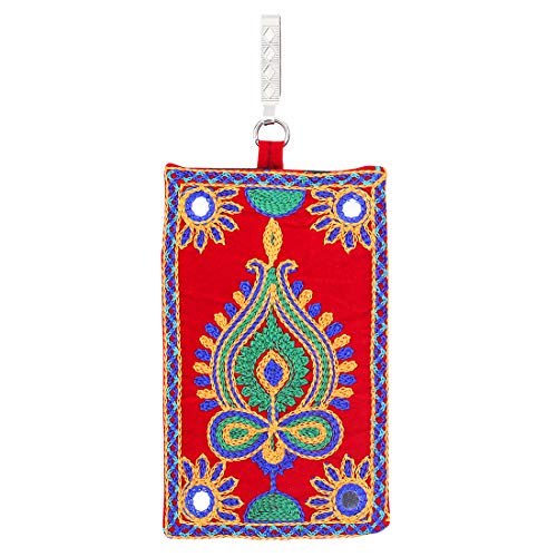 Mandani Sales Women's Cotton Designer Embroided Mobile-Phone Pouch Cover Rich Embroidery in Traditional Indian Style and Sari Hook for Women (Orange) Mini