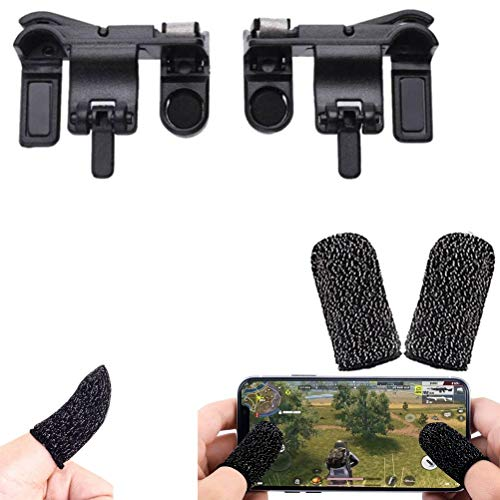Rednix Black PUBG Buttons L1 R1 Trigger Mobile Game Controller Shoot and Aim with Free Gaming Finger Sleeve Touchscreen Finger Gloves Anti-Sweat Touch and Sensitive