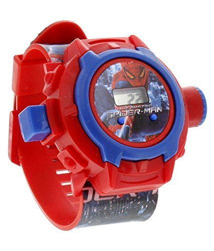 Boss Digital Reddish Dial Spiderman Kids Band - Kids Favourite Spiderman Band with Projector of Spiderman 24 Different Pattern Image