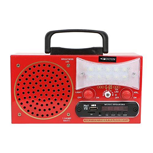 Bexton Rechargeable Multimedia G65 LED with USB/AUX/TF and Remote FM Radio (Red)