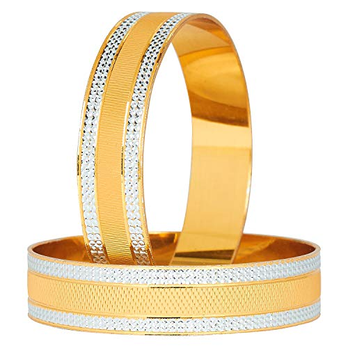 Shining Jewel - By Shivansh Shining Jewel 24K Fine Two Tone Gold & Silver Plated Traditional Bangles for Women (Pack of 2) SJ_3294_2.6