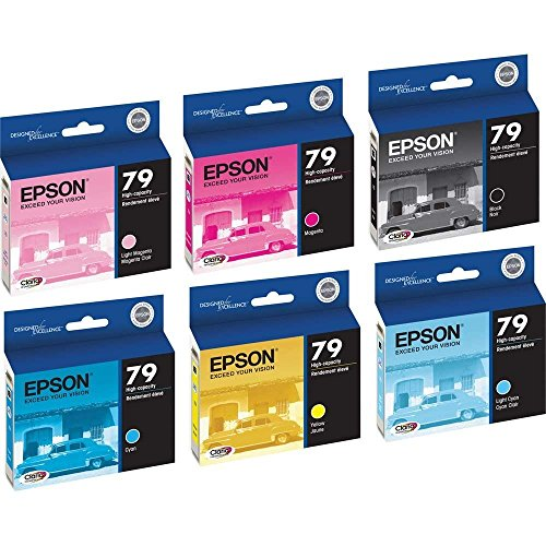 6 Pack (Full Set) Epson 79 T079120 T079220 T079320 T079420 T079520 T079620 Ink Cartridges for Epson Stylus Photo 1400 Printers