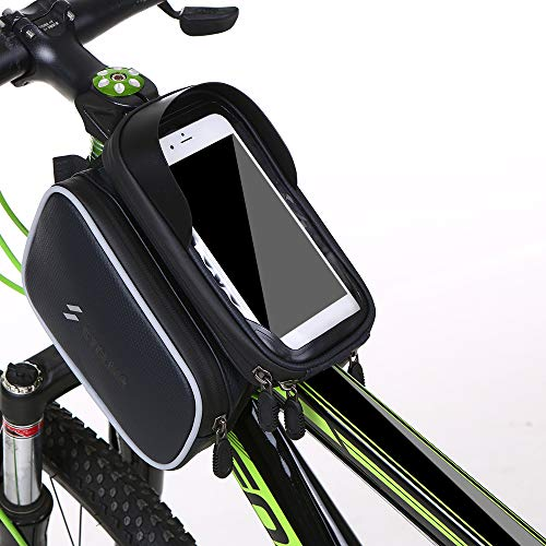 Docooler Bicycle Frame Bag Waterproof Double Pouch Bike Top Tube Bag MTB Mountain Bike Cycling Bag Touchscreen Phone Case for 6.0 Inch Cell Phone