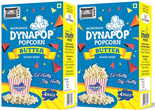 Dynapop®, Microwave Popcorn, Butter Flavor Combo Pack 800g (2 x Pack of 4 x 100g)