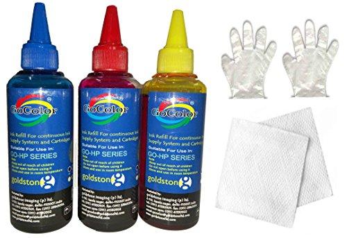 Gocolor Compatible Refill Ink 100 ml x 3 Bottles for HP Tri Color Cartridge 704 (C/M/Y)