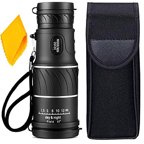 PE Binocular 16x52 with Powerful Lens Foldable Monocular Telescope Long Distance zoomable Vision high Power Wide Angle Sports Hunting Camping Compass with Pouch