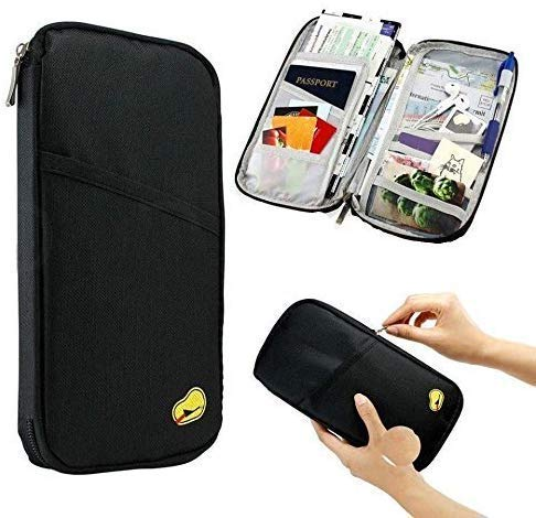Shopidity Multi Functional Family Passport Holder with Mobile Phone and Card Slots for Debit, Credit, ATM and ID Cards (Black)