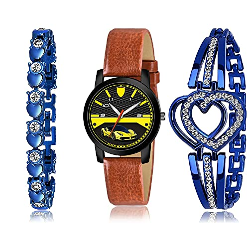 TIMENTER Collegian Bracelet and Watch Combo Analogue Black and Blue Color Dial Women Watch - (31-L-8)-GX2-GX6 (Pack of 3)