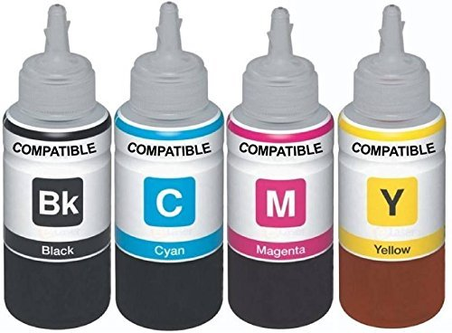 Dubaria Refill Ink for Use in HP DeskJet 4535 All-in-One Wireless Color Ink Printer - Cyan, Magenta, Yellow & Black - 100 ML Each Bottle