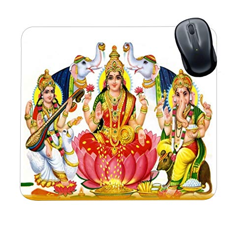 Family Shoping Year Gifts Item Office Printed Laxmi Ganesh Saraswati Mousepad for Computer, PC, Laptop, White